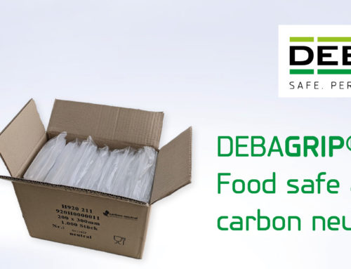 Resealable DEBAGRIP® grip-seal bags made of PE film with glass fork symbol meet requirements for contact with foodstuffs